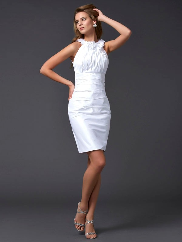 Chic Sheath High Neck Sleeveless Short Taffeta Homecoming Dress