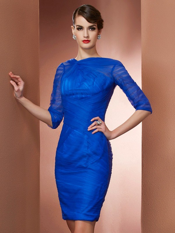 Chic Sheath High Neck 1/2 Sleeves Short Elastic Woven Satin Homecoming Dress