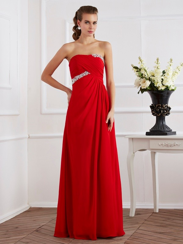 Chic Sheath Strapless Sleeveless Long Chiffon Dress