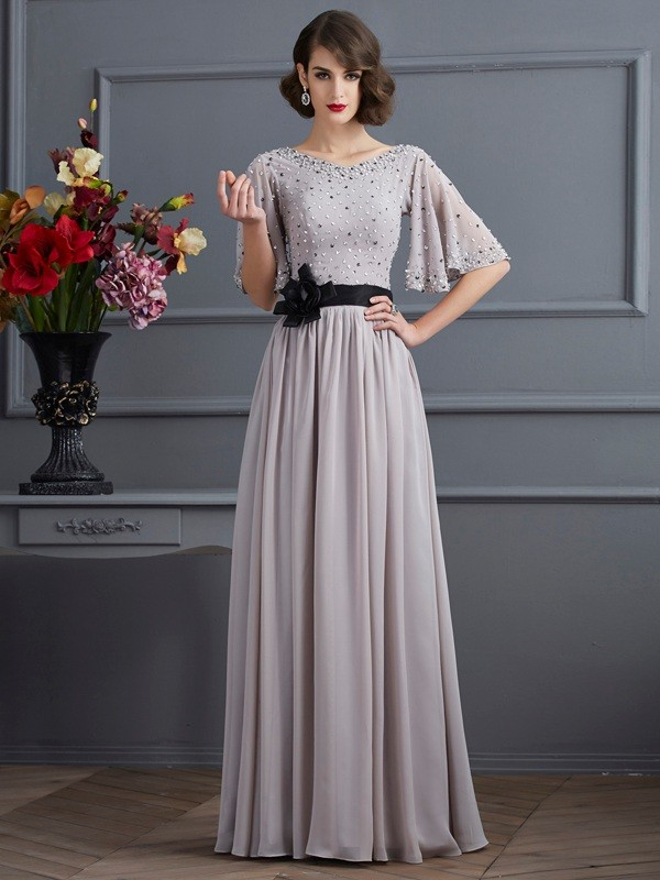 Chic A-Line High Neck 1/2 Sleeves Long Chiffon Dress