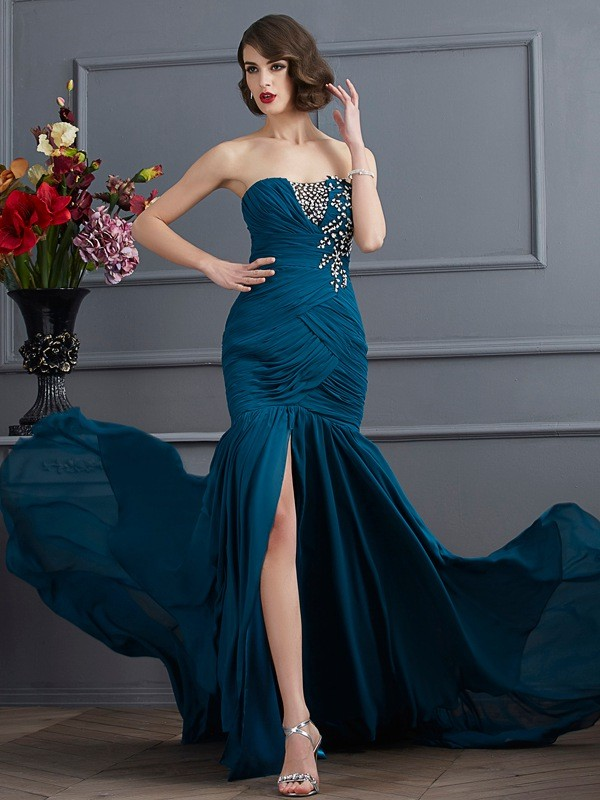 Chic Mermaid Strapless Sleeveless Long Chiffon Dress