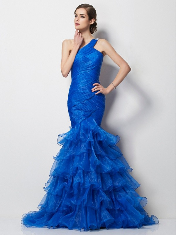 Chic Mermaid One-Shoulder Sleeveless Long Tulle Dress