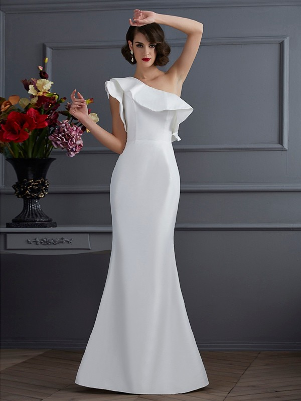Stylish Mermaid One-Shoulder Sleeveless Long Taffeta Dress