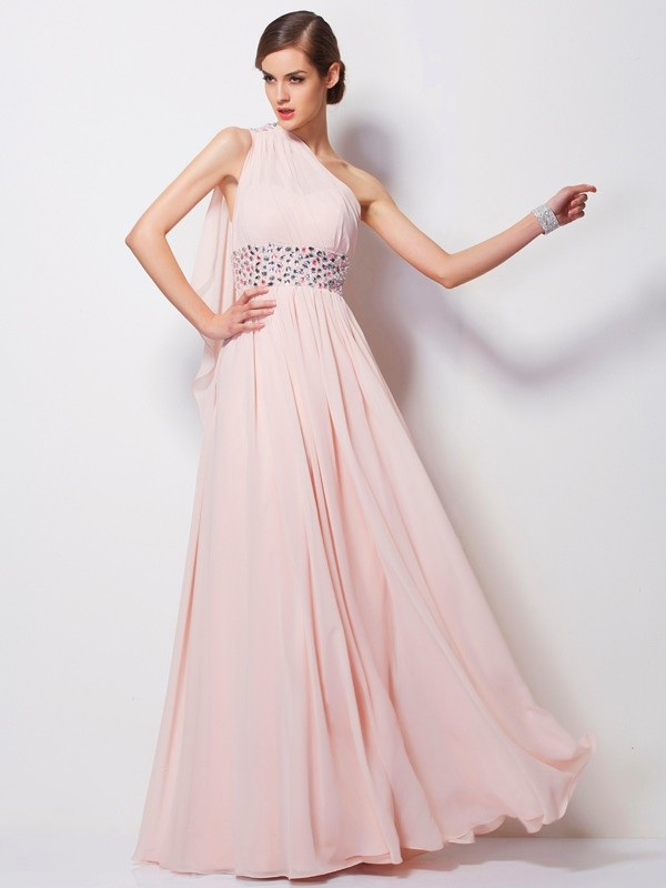 Stylish Sheath One-Shoulder Sleeveless Long Chiffon Dress