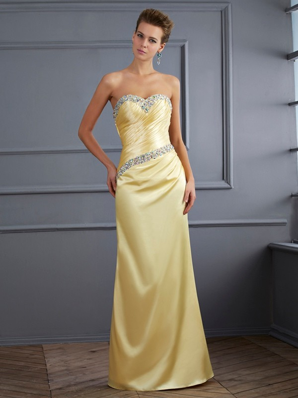 Stylish Mermaid Sweetheart Sleeveless Long Elastic Woven Satin Dress