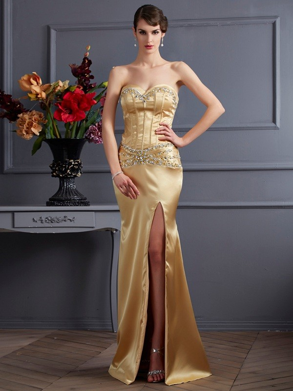 Stylish Sheath Sweetheart Sleeveless Long Elastic Woven Satin Dress