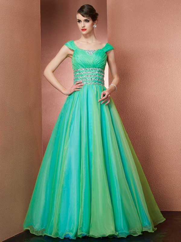 Stylish Ball Gown Off the Shoulder Sleeveless Long Satin Quinceanera Dress