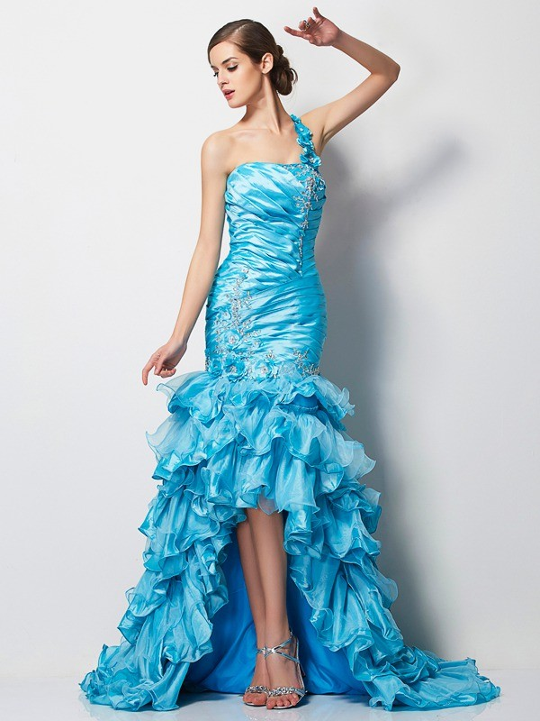 Stylish Mermaid One-Shoulder Sleeveless High Low Taffeta Dress