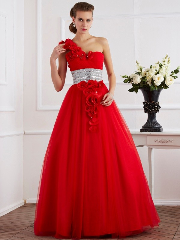 Stylish Ball Gown One-Shoulder Sleeveless Long Net Quinceanera Dress