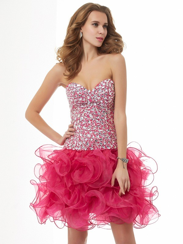 Stylish Sheath Sweetheart Sleeveless Short Organza Homecoming Dress