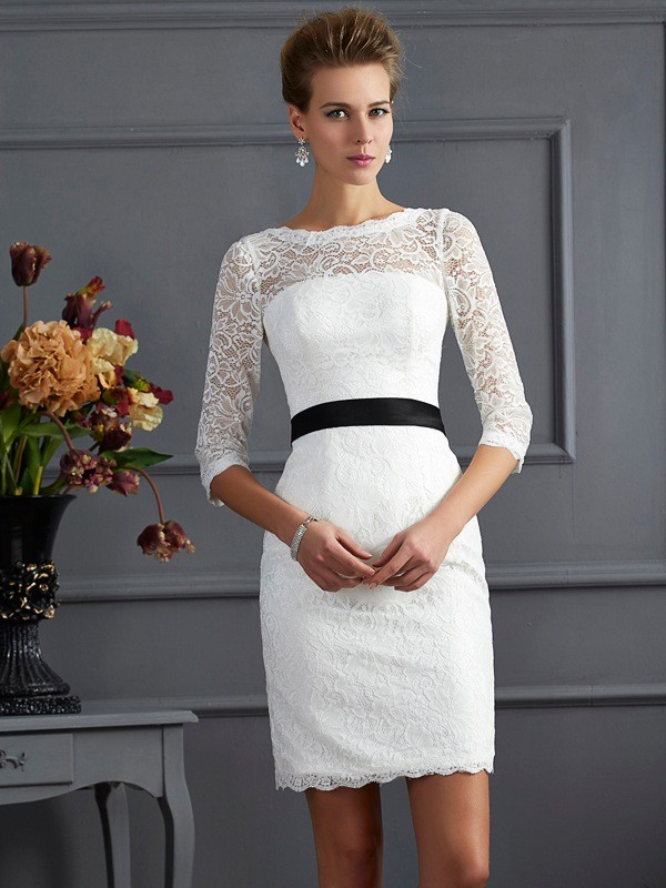 Stylish Sheath Scoop 3/4 Sleeves Short Lace Mother of the Bride Dress
