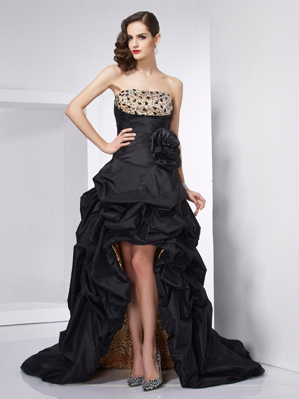 Stylish A-Line Strapless Sleeveless High Low Taffeta Dress