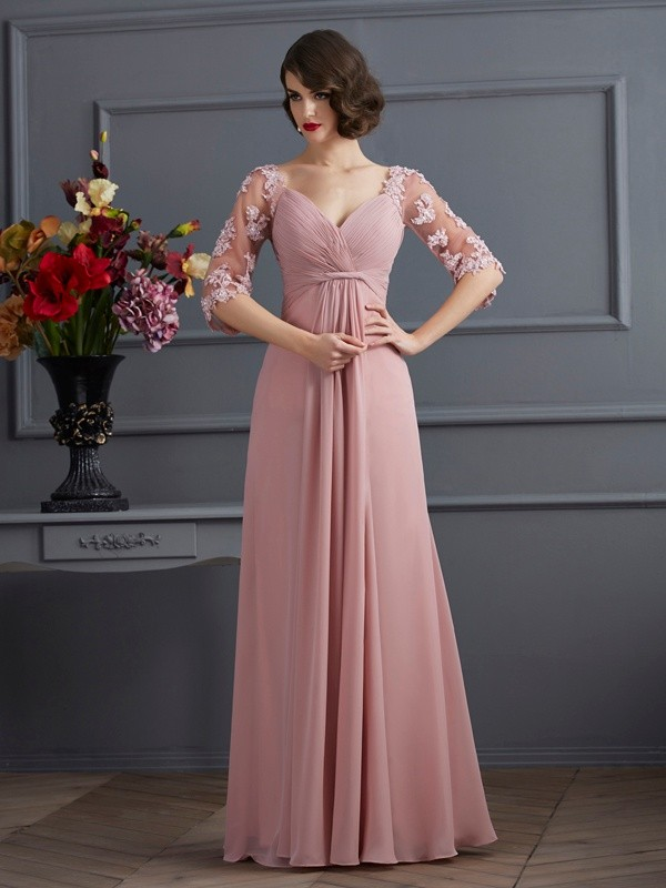 Fashion A-Line Sweetheart 1/2 Sleeves Long Chiffon Dress