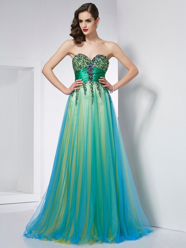 Fashion Ball Gown Sweetheart Sleeveless Long Elastic Woven Satin Dress