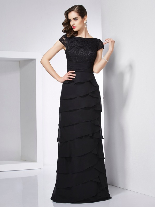 Fashion Sheath Scoop Short Sleeves Long Chiffon Dress