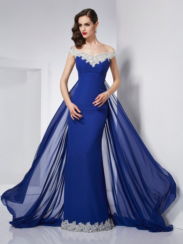 Fashion Mermaid Off the Shoulder Sleeveless Long Chiffon Dress