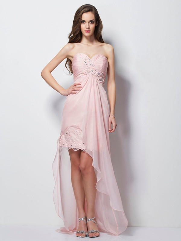 Fashion A-Line Sweetheart Sleeveless High Low Chiffon Dress