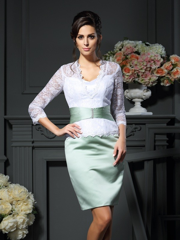 Fashion Sheath V-neck Lace 1/2 Sleeves Short Satin Mother of the Bride Dress