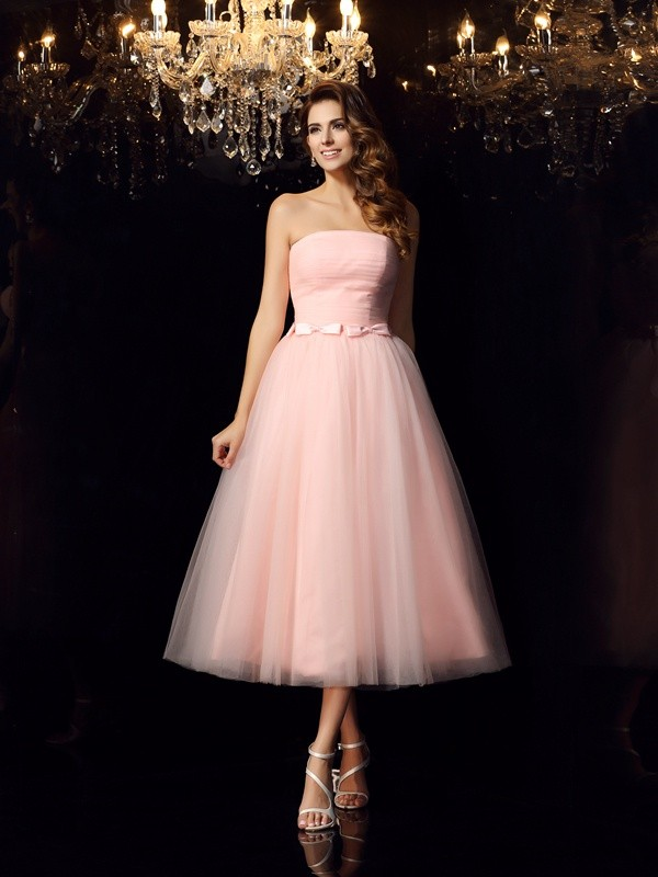 Fashion Ball Gown Strapless Sleeveless Short Satin Quinceanera Dress