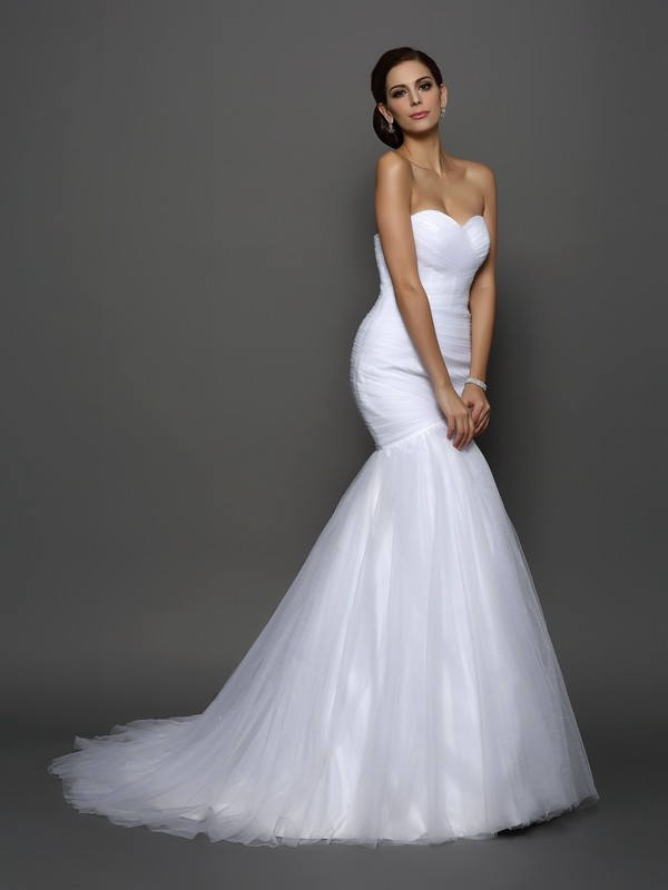 Exquisite Mermaid Sweetheart Sleeveless Long Net Wedding Dress