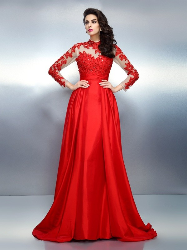 Exquisite A-Line High Neck Long Sleeves Long Satin Dress