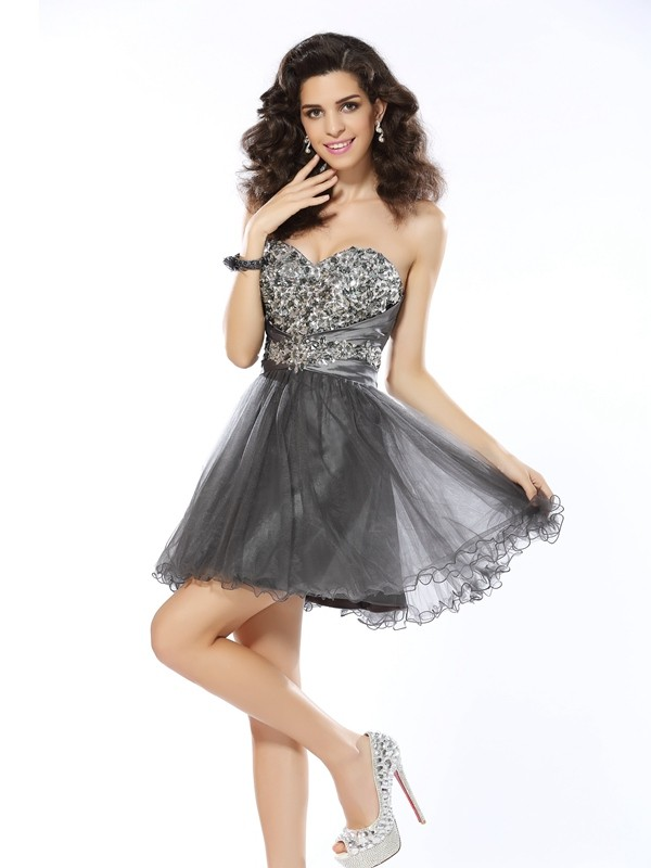 Exquisite A-Line Sweetheart Sleeveless Short Net Cocktail Dress