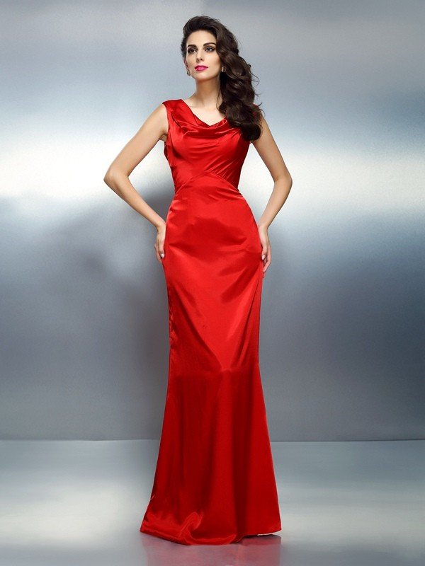 Exquisite Mermaid V-neck Sleeveless Long Silk like Satin Dress