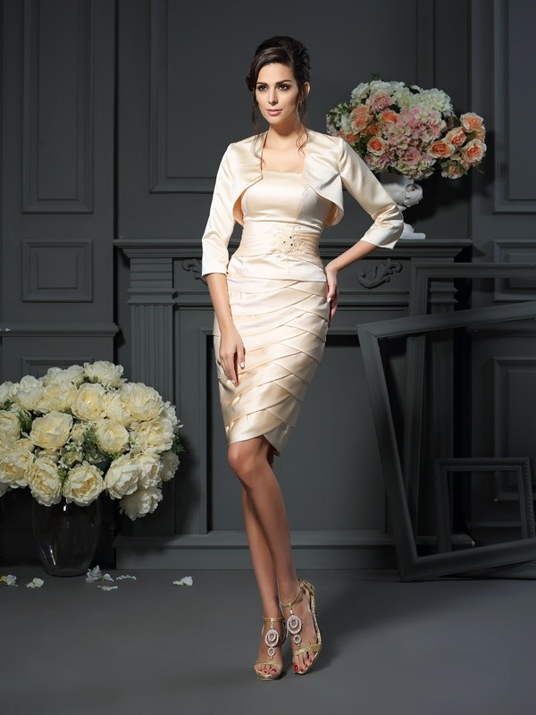 Exquisite Sheath Strapless Sleeveless Short Satin Mother of the Bride Dress