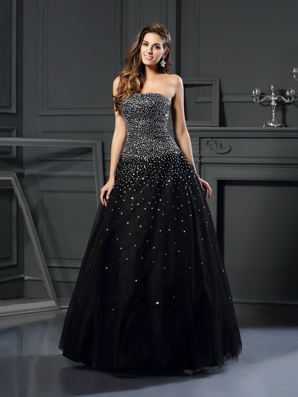 Exquisite Ball Gown Strapless Sleeveless Long Satin Quinceanera Dress