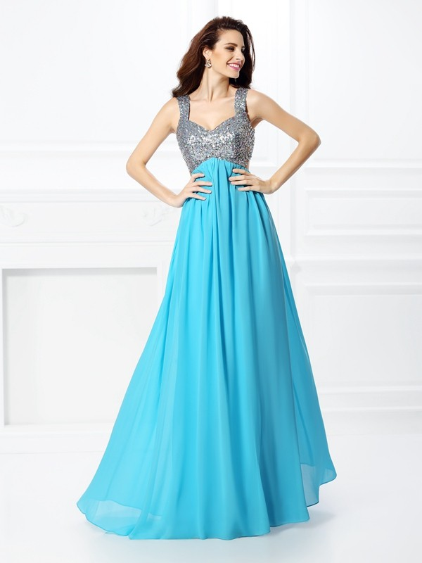 Exquisite A-Line Straps Sleeveless Long Chiffon Dress