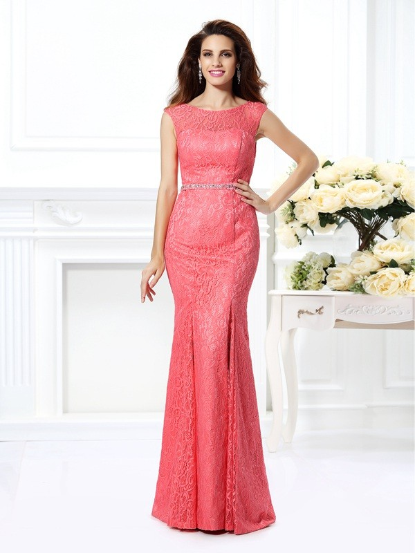Exquisite Mermaid Bateau Sleeveless Long Lace Dress