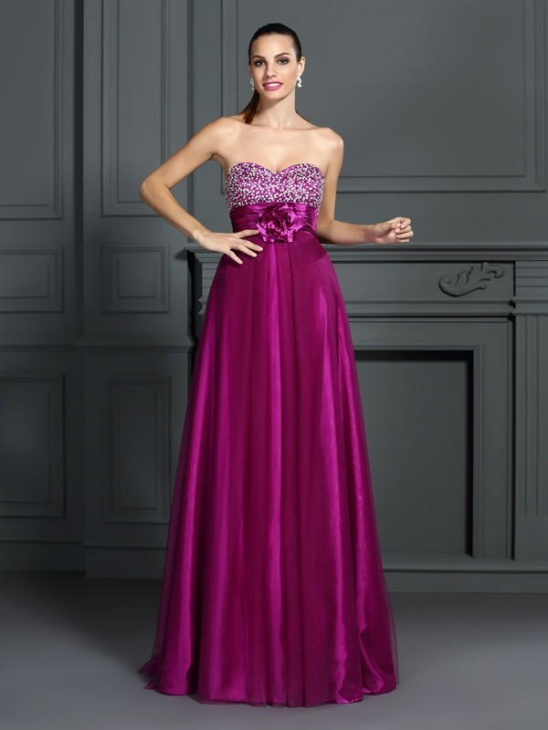 Exquisite A-Line Sweetheart Sleeveless Long Elastic Woven Satin Dress
