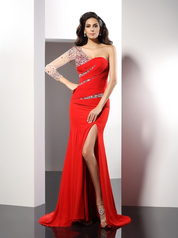 Exquisite Sheath One-Shoulder 3/4 Sleeves Long Chiffon Dress