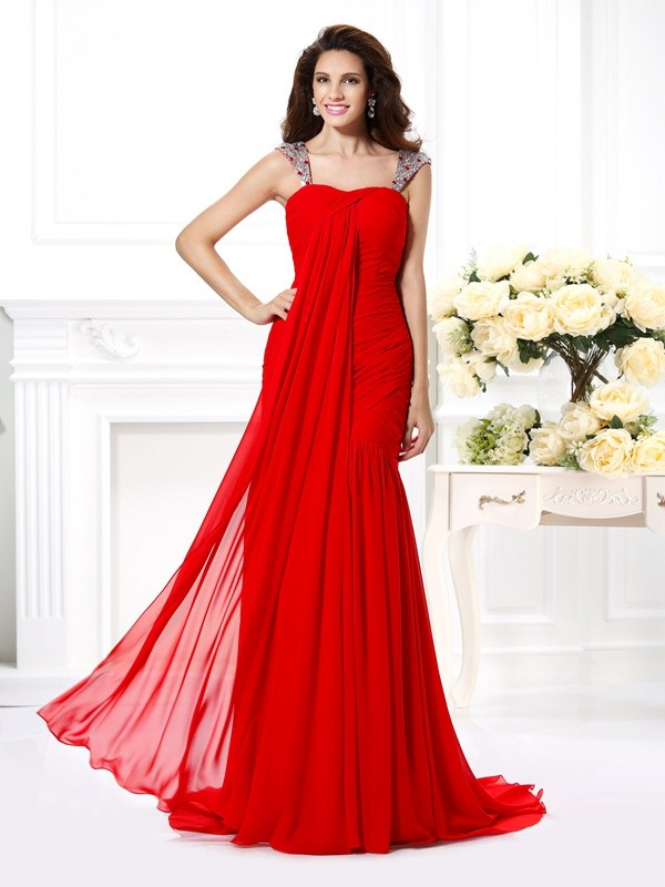 Exquisite Mermaid Straps Sleeveless Long Chiffon Dress
