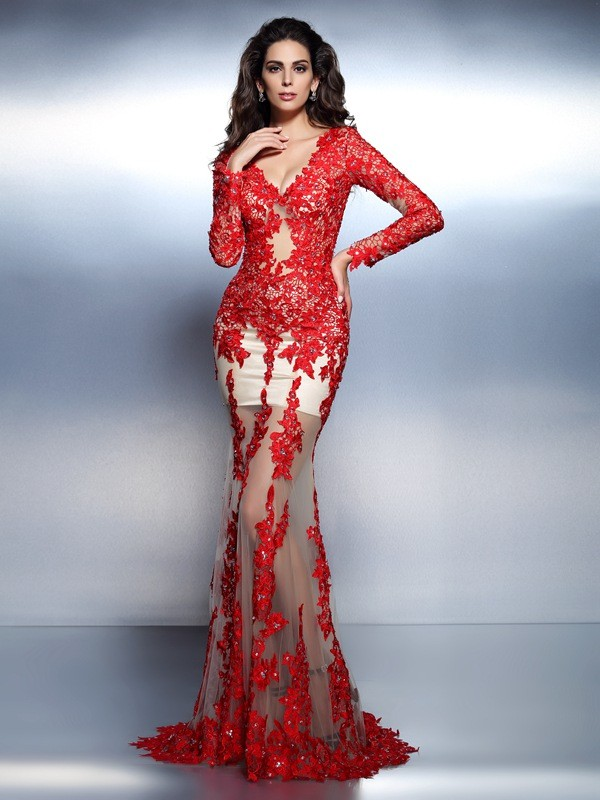 Exquisite Mermaid V-neck Long Sleeves Long Lace Dress