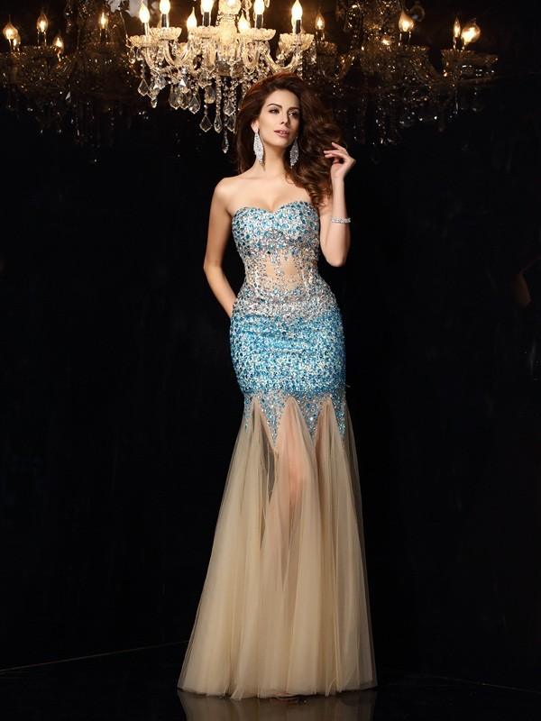 Exquisite Sheath Sweetheart Sleeveless Long Net Dress