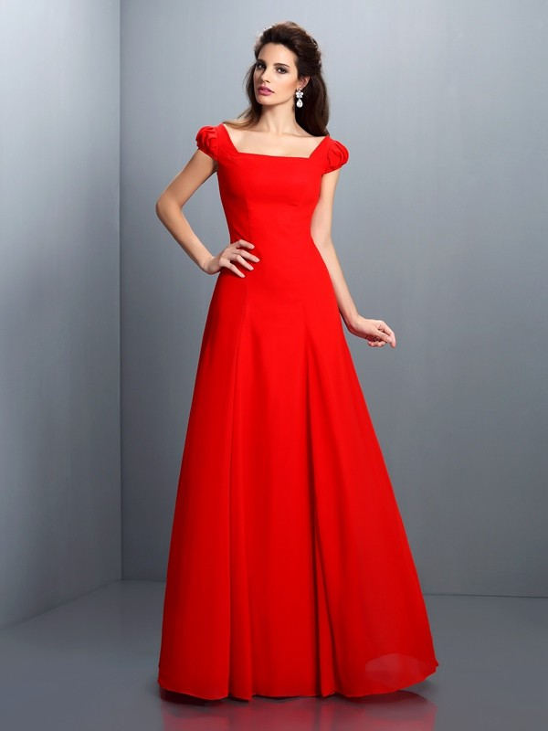 Charming A-Line Bateau Short Sleeves Long Satin Dress
