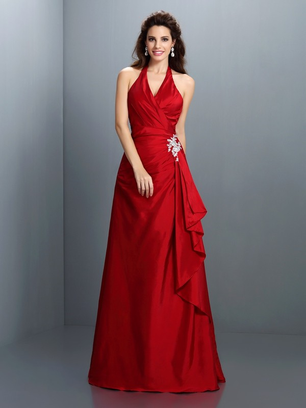 Charming A-Line Halter Sleeveless Long Taffeta Dress