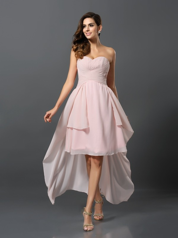 Charming A-Line Sweetheart Sleeveless High Low Chiffon Bridesmaid Dress