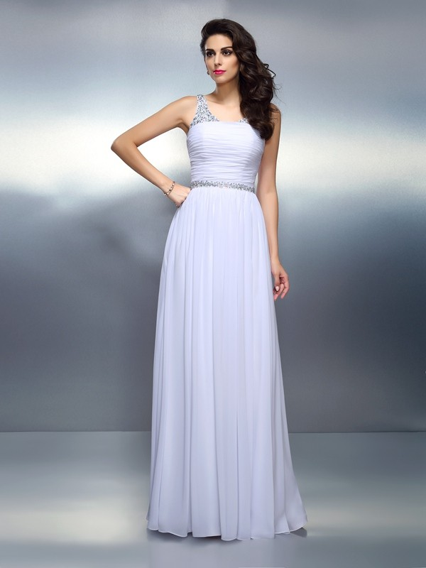 Charming A-Line Scoop Sleeveless Long Chiffon Dress
