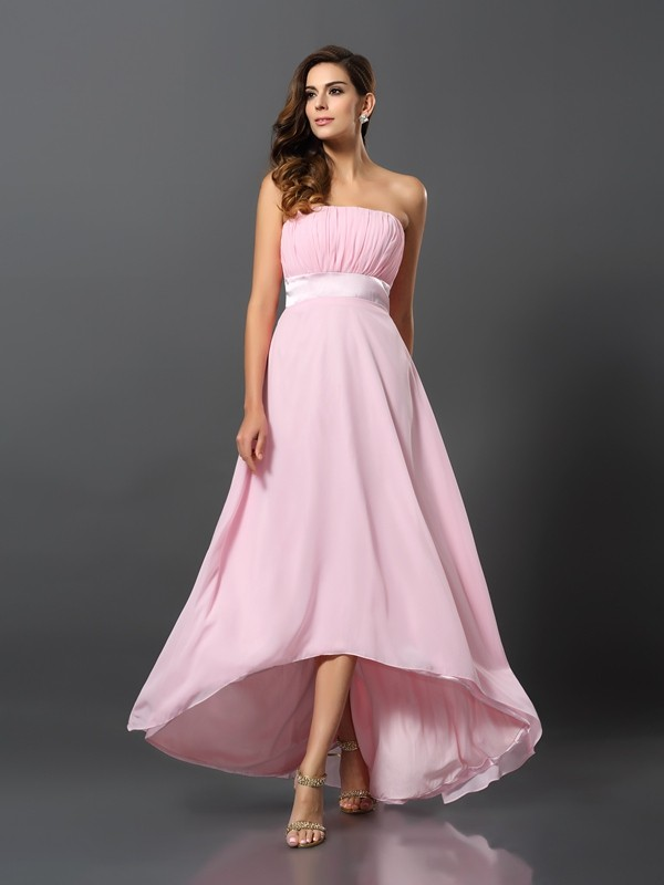 Charming A-Line Strapless Sleeveless High Low Chiffon Bridesmaid Dress