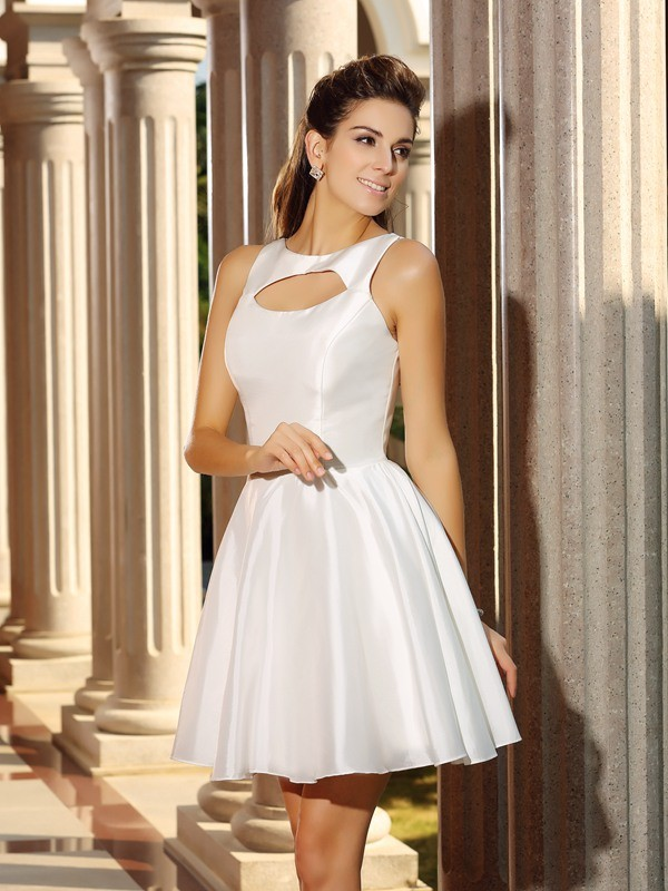 Classical A-Line High Neck Sleeveless Short Satin Cocktail Dress