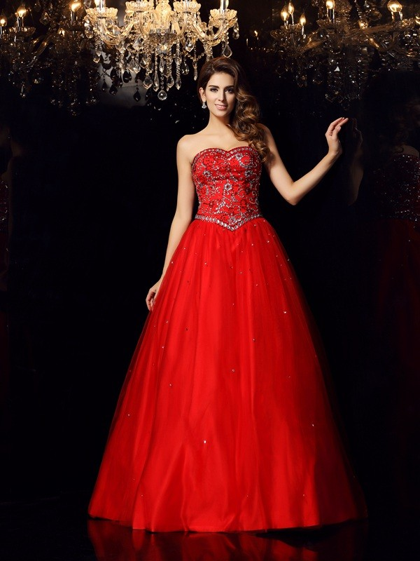 Classical Ball Gown Sweetheart Sleeveless Long Satin Quinceanera Dress
