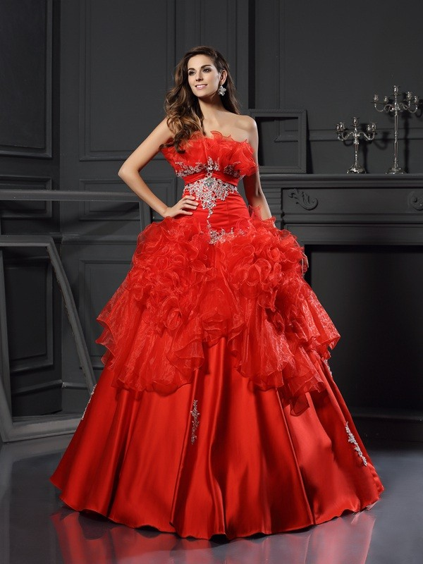 Classical Ball Gown Strapless Sleeveless Long Organza Quinceanera Dress