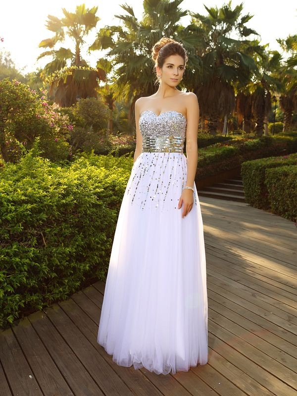 Classical A-Line Sweetheart Sleeveless Long Organza Dress