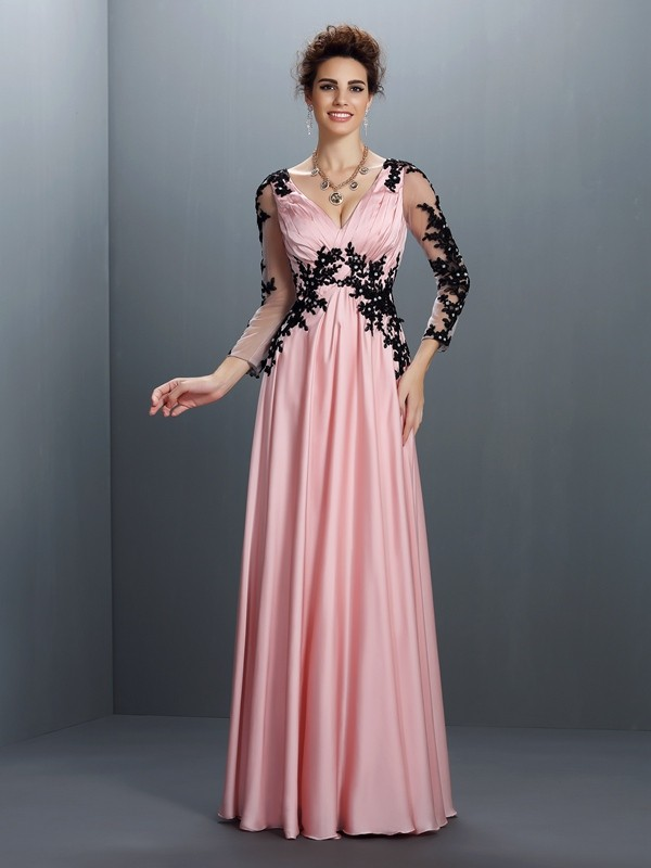 Classical A-Line V-neck 3/4 Sleeves Long Chiffon Dress