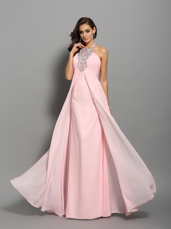 Classical Sheath High Neck Sleeveless Long Chiffon Dress