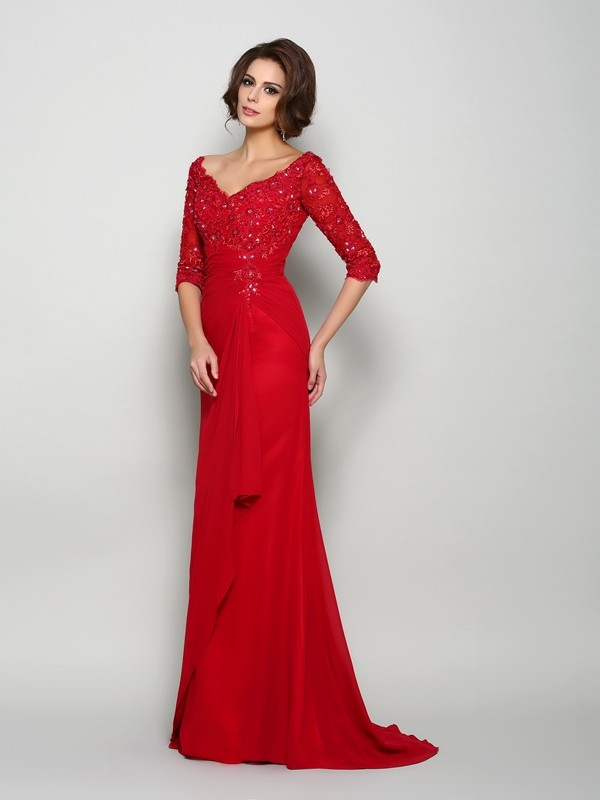 Classical A-Line V-neck 1/2 Sleeves Long Chiffon Mother of the Bride Dress