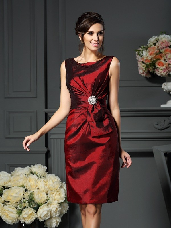 Classical Sheath Scoop Sleeveless Short Taffeta Mother of the Bride Dress