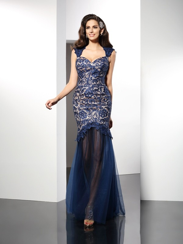 Classical Mermaid Sweetheart Lace Sleeveless Long Net Dress